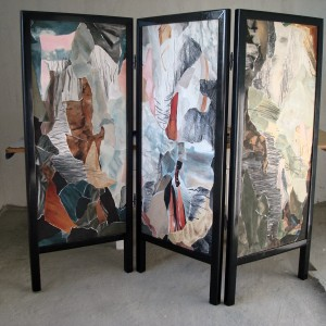 Three fold textile screen with wooden frame