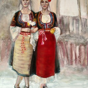 Girls in traditional Bulgarian folk costumes from Kyustendil